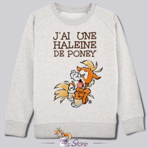 Sweat kid blanc : haleine de poney