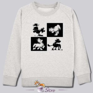 Sweat kid blanc : noir et blanc
