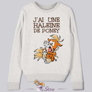 Sweat humoristique blanc : haleine de poney