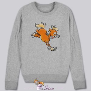 Sweat humoristique gris : le grand saut